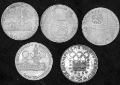 Österreich 1976, 5 x 100.- Schilling - Silbermünzen. Austria 1976, 5 x 100 Schilling silver coins.