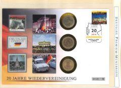 Kleine Sammlung Gedenkmünzbriefe Europa mit 2 Euro Stücken. Insgesamt 20 Stück, dabei meist 20