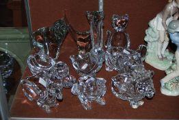 NINE ASSORTED CRYSTAL ANIMAL FIGURES INCLUDING ELEPHANT, LION, FROG, CAMEL, ETC.