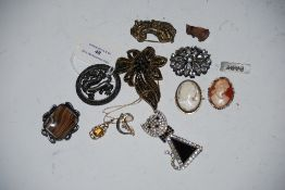 COLLECTION OF ASSORTED BROOCHES INCLUDING TWO CAMEO BROOCHES, YELLOW METAL BROOCH WITH OPAL,