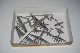 COLLECTION OF DINKY MILITARY AND CIVILIAN AIRCRAFT, TOGETHER WITH FOUR ASSORTED MINIATURE METAL