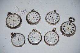 SEVEN SILVER POCKET WATCHES INCLUDING WATCH RETAILED BY W.J. BENSON OF LONDON, J.G. GREAVES OF