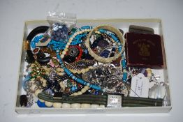 COLLECTION OF ASSORTED COSTUME JEWELLERY - LADIES WHITE METAL CASED WRIST WATCH, FESTIVAL OF BRITAIN