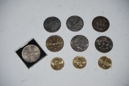 SMALL COLLECTION OF ASSORTED COINAGE INCLUDING VICTORIAN CROWN, TWO POUND COINS, ETC.