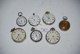 FOUR ASSORTED SILVER CASED POCKET WATCHES, TOGETHER WITH THREE SILVER CASED FOB WATCHES