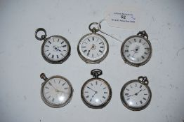 SIX SILVER CASED FOB WATCHES