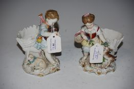 PAIR OF CONTINENTAL PORCELAIN FIGURAL FERN POTS - YOUNG GIRL CARRYING BASKET WITH DOG AND YOUNG