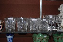 COLLECTION OF EDINBURGH CRYSTAL GLASSWARE INCLUDING TWO SETS OF WHISKY TUMBLERS, SET OF STEMMED