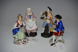TWO PAIRS OF CONTINENTAL FIGURINES - LADY AND GENTLEMAN WITH FLOWERS, TOGETHER WITH GENTLEMAN