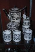WEDGWOOD WHITE AND SILVER LUSTRE PATTERNED PART COFFEE SERVICE