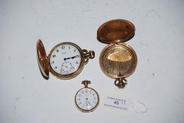 YELLOW METAL CASED HUNTER POCKET WATCH BY LIMIT, YELLOW METAL HUNTER POCKET WATCH CASE ONLY AND A