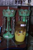 PAIR OF VICTORIAN GREEN TINTED GLASS LUSTRES, TOGETHER WITH A YELLOW GROUND STRATHEARN OVOID