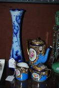 NORITAKE BLUE GROUND AND FLORAL PATTERNED THREE PIECE COFFEE SERVICE, TOGETHER WITH A BLUE GROUND