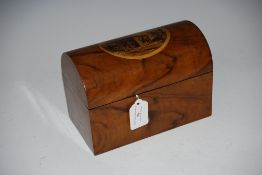 A 19TH CENTURY ROSEWOOD TEA CADDY WITH PICTORIAL PANEL OF DUNKELD HOUSE