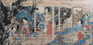 A group of three Japanese woodblock prints, Meiji Period, comprising; Toyohara Chikanobu (1838-1912)