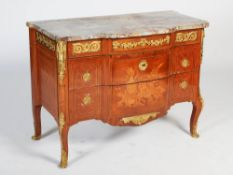 A late 19th century French kingwood, parquetry and gilt metal mounted Transitional style commode,