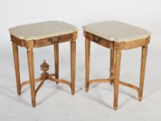 A pair of French gilt wood Neo Classical style occasional tables, the faux painted marble tops above
