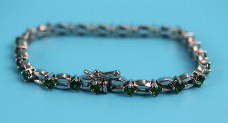 Silver & green garnet set bracelet
