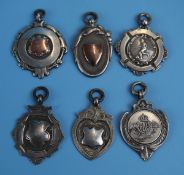 6 silver & gold fronted fobs to include RAF
