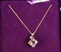 Gold amethyst & diamond pendant on gold chain