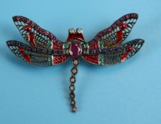 Ruby, sapphire, emerald & diamond dragonfly brooch