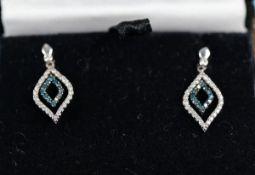 Pair gold 2 coloured diamond earrings