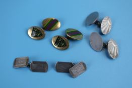 2 pairs of silver cufflinks together with an enamel pair