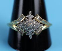 Unusual set gold & diamond ring
