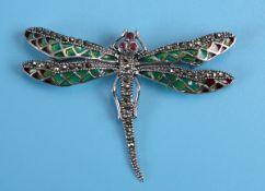 Silver champlevé enamel dragonfly brooch