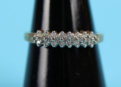 Gold triple row diamond ring