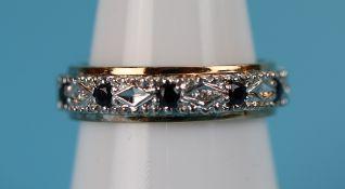 Gold sapphire & diamond full eternity ring