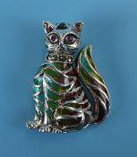 Silver enamel stone set cat brooch