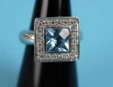 Heavy silver stone set ring