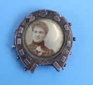 Victorian silver horseshoe photo brooch