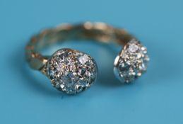 Unusual gold & diamond set ring