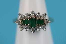 Gold emerald & diamond ring
