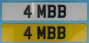Personalised registration plate - 4 MBB - (JUST 10% B.P. + VAT on this lot)