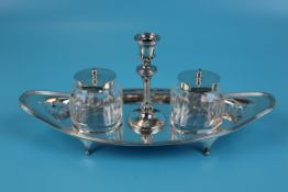 Hallmarked Victorian silver inkwell with candle holder - Birmingham 1897 Atkin Bros