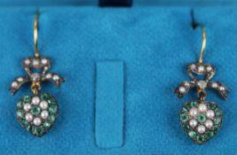 Pair emerald, pearl & diamond earrings