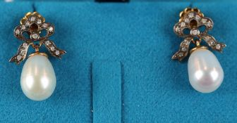 Pair of pearl & diamond bow shaped earrings