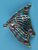 Silver enamel stone set brooch