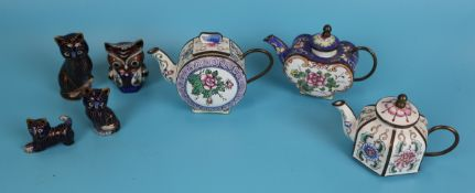 Collection of cloisonne to include teapots, cats and owl