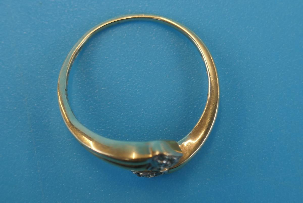 Gold diamond set double heart ring (Size: N½) - Image 3 of 3