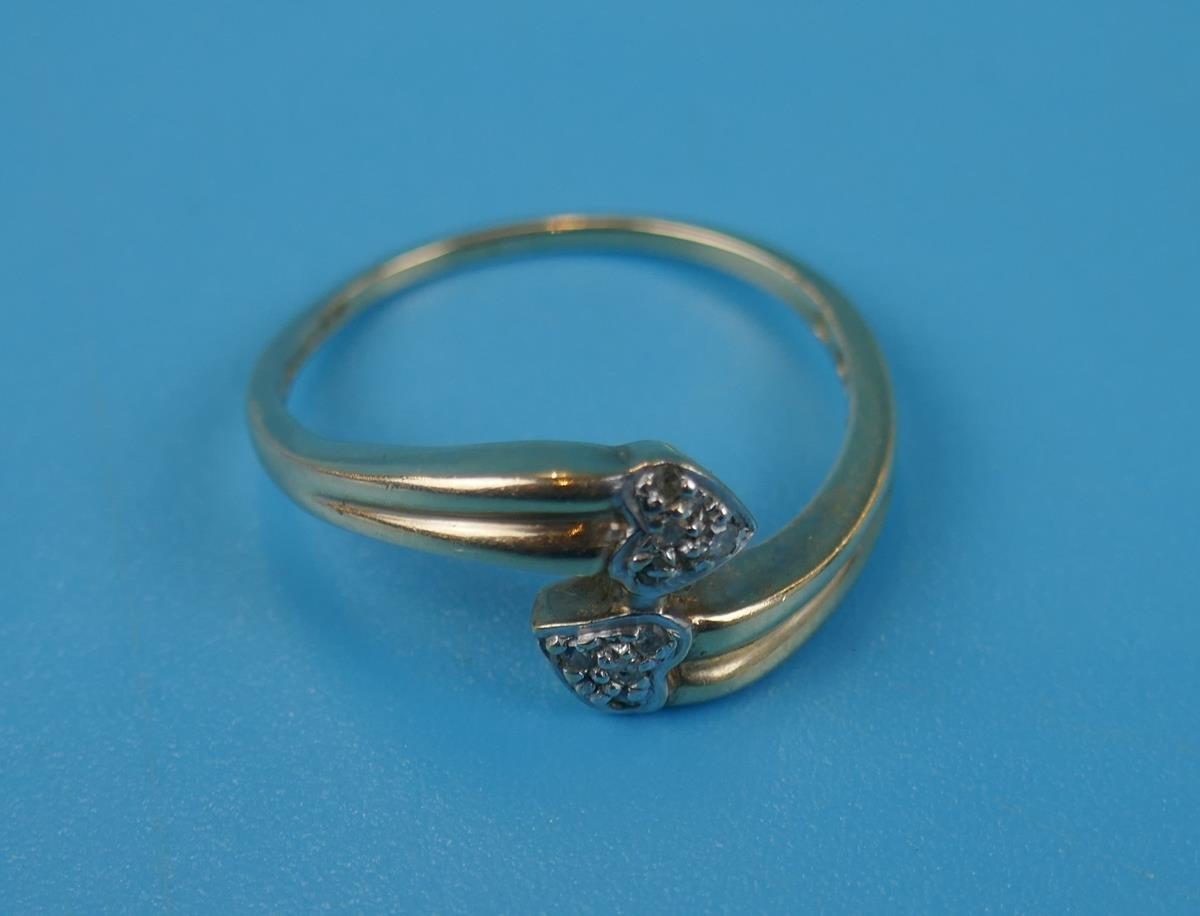 Gold diamond set double heart ring (Size: N½) - Image 2 of 3