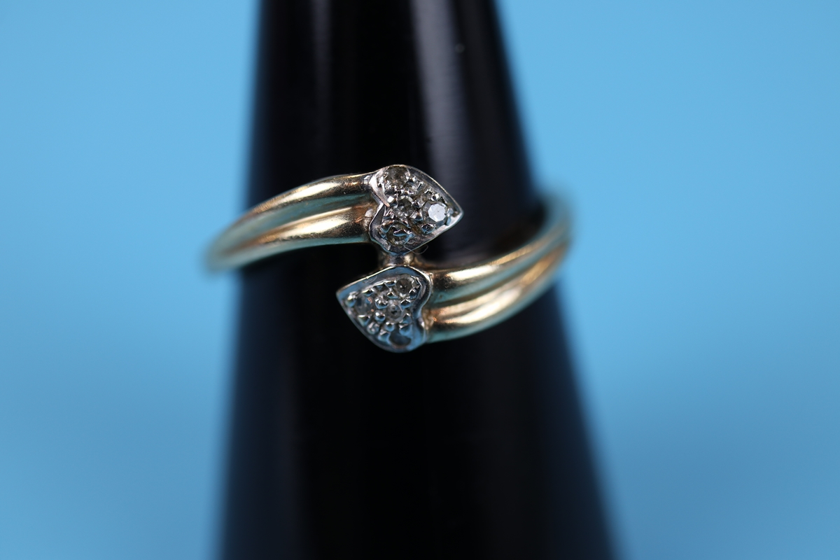 Gold diamond set double heart ring (Size: N½)
