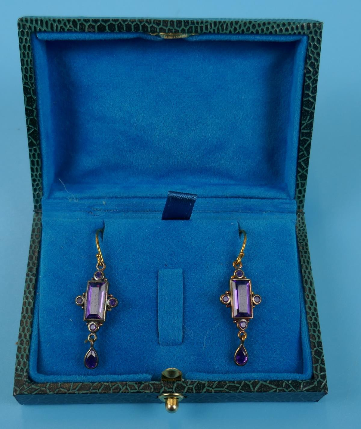 Pair of amethyst drop earrings - Image 2 of 4