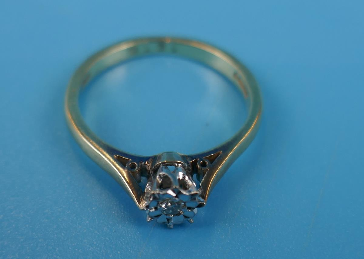 Gold diamond solitaire ring (Size: N) - Image 2 of 3