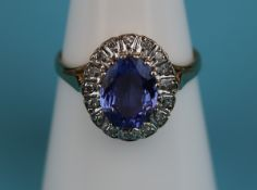 Gold sapphire & diamond cluster ring (Size: O)