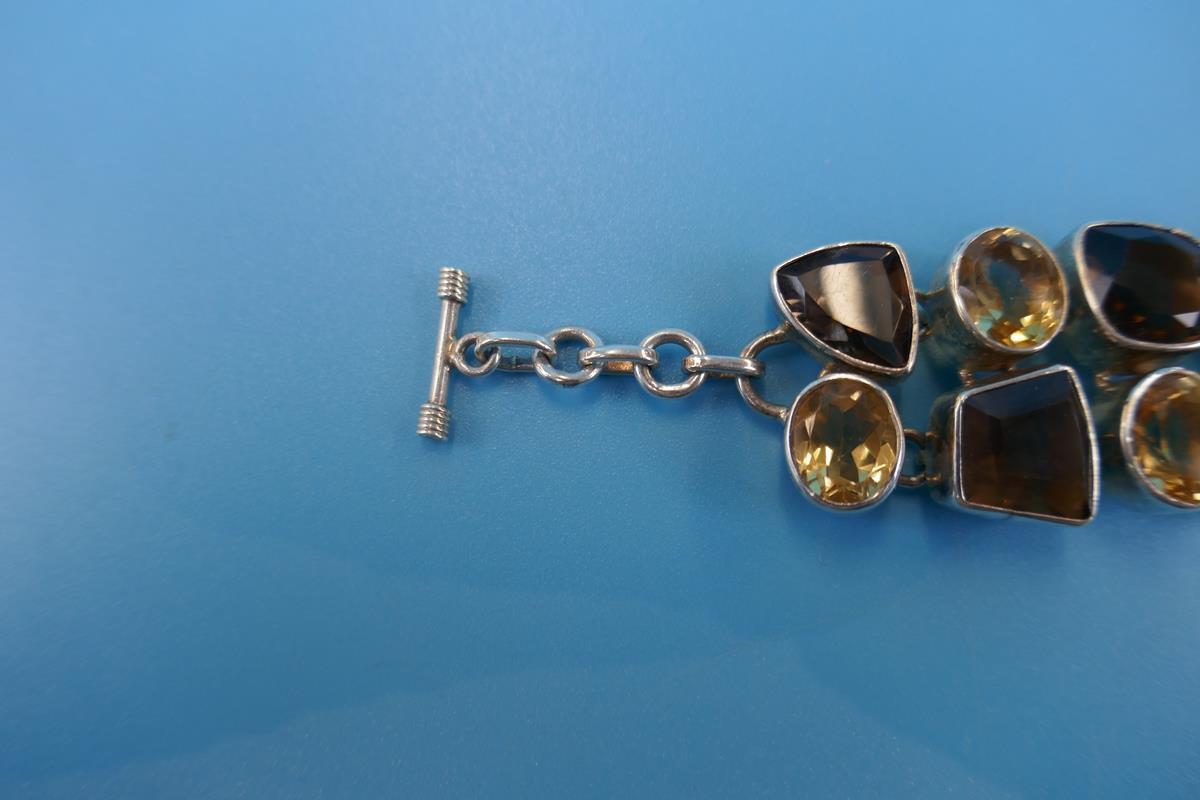 Heavy silver topaz & citrine bracelet - Image 4 of 5