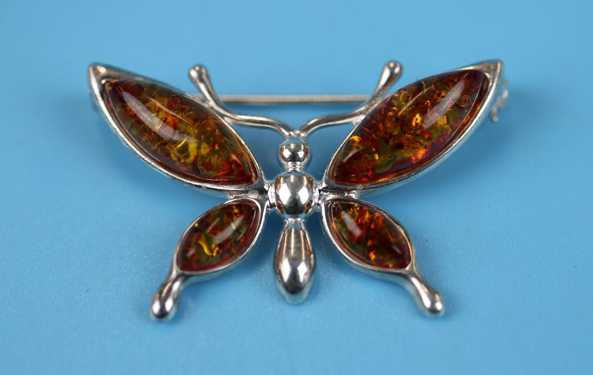 Silver & amber butterfly brooch